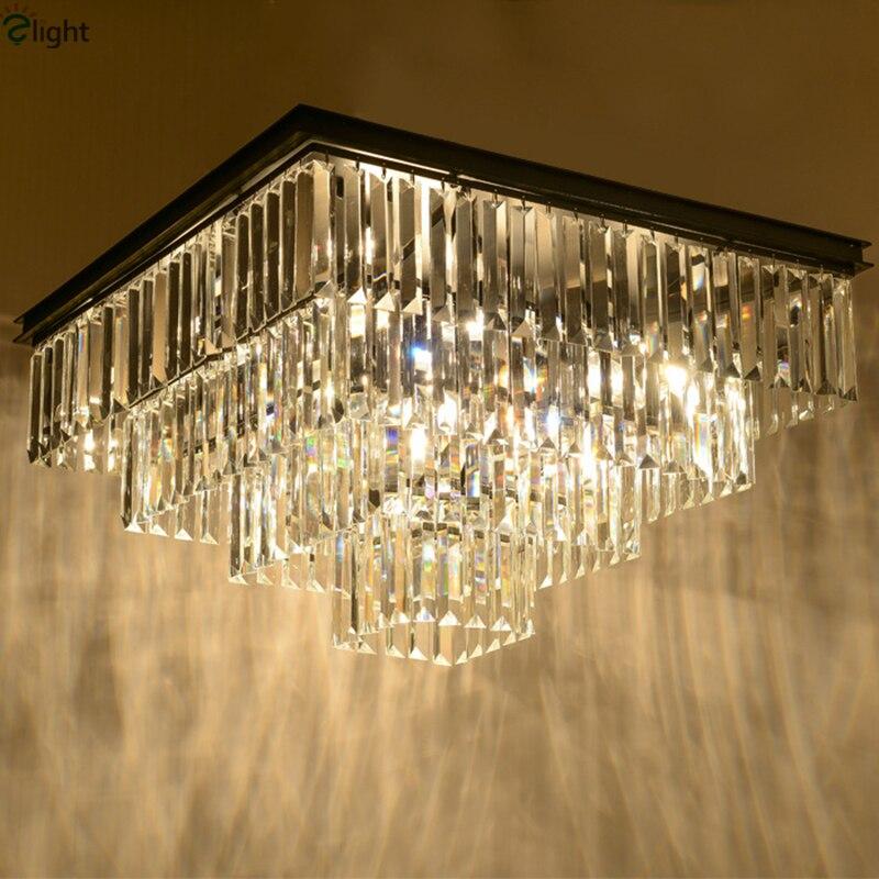 Amerikanischen RH Matte Schwarz Eisen Glanz K9 Cristal Led Decke Licht Loft  Retro Minimalismus Platz Deckenleuchte Für Wohnzimmer Hotel |  Utradioguide.com