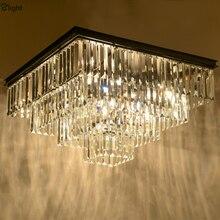 American RH Matte Black Iron Lustre K9 Cristal Led Ceiling Light Loft Retro Minimalism Square Ceiling Lamp For Living Room Hotel