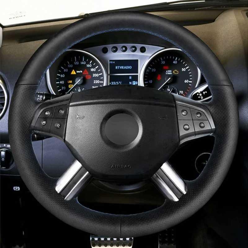 Preto PU Couro Artificial Cobertura de Volante de Carro para Mercedes Benz GL W164 M-Classe ML350 ML500 X164- classe GL4