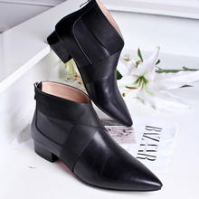 Women's Autumn Flats Ankle Boots Brand Designer Pointed Toe Short Booties Real Leather Patchwork Female Footwear Comfort Shoes