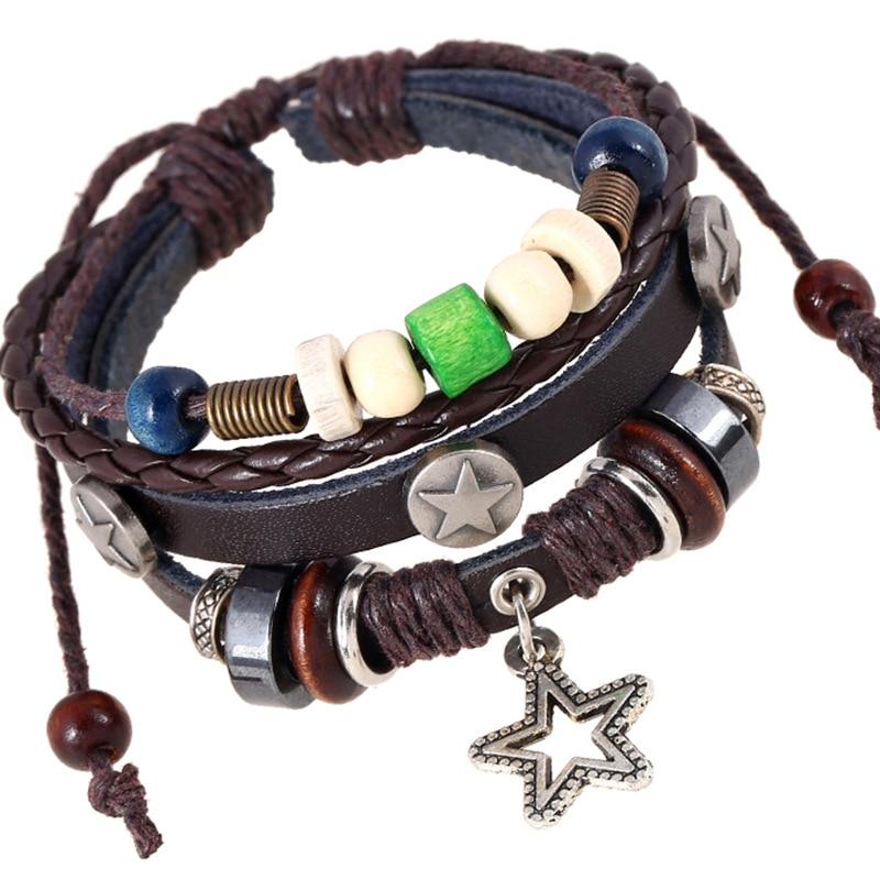 Gnova New Fashion Retro Alloy Beads Bracelets Jewelry Star Vintage Leather Bracelet Bangle For Women Men Wholesale
