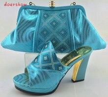 Doershow sapato italiano de sapato e bolsa conjunto com diamantes brilhantes com saco de harmonização para a festa de senhoras de sapato e bolsa combinando itália HJY1-8
