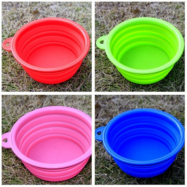 Pet Portable Silicone Collapsible Foldable Feeding Bowl Food Dish Feeder Travel Camping Multi Color
