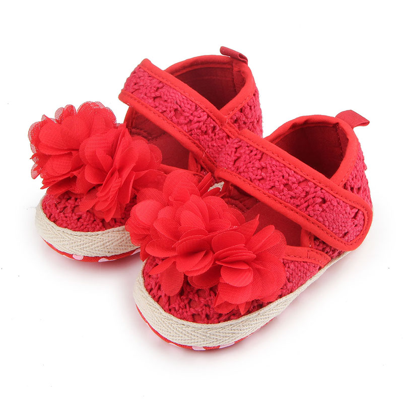 New Arrival Beautiful Floral Cotton Soft Sole Hook&Loop Infant Newborn Baby Girl Shoes P ...