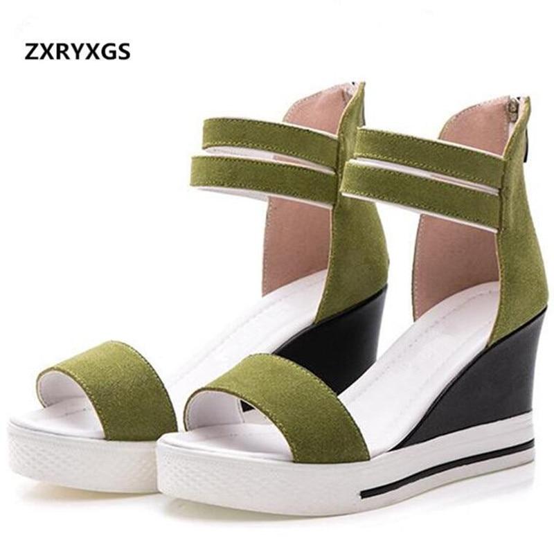 5979a542a89 Moda Mujeres Negro Cómodos verde Mujer Antideslizantes Cm 8 Verano Zapatos  Cuñas Dulce De Plataforma Tacón Gamuza Las Nueva Alto Sandalias 2019 zvHw6R