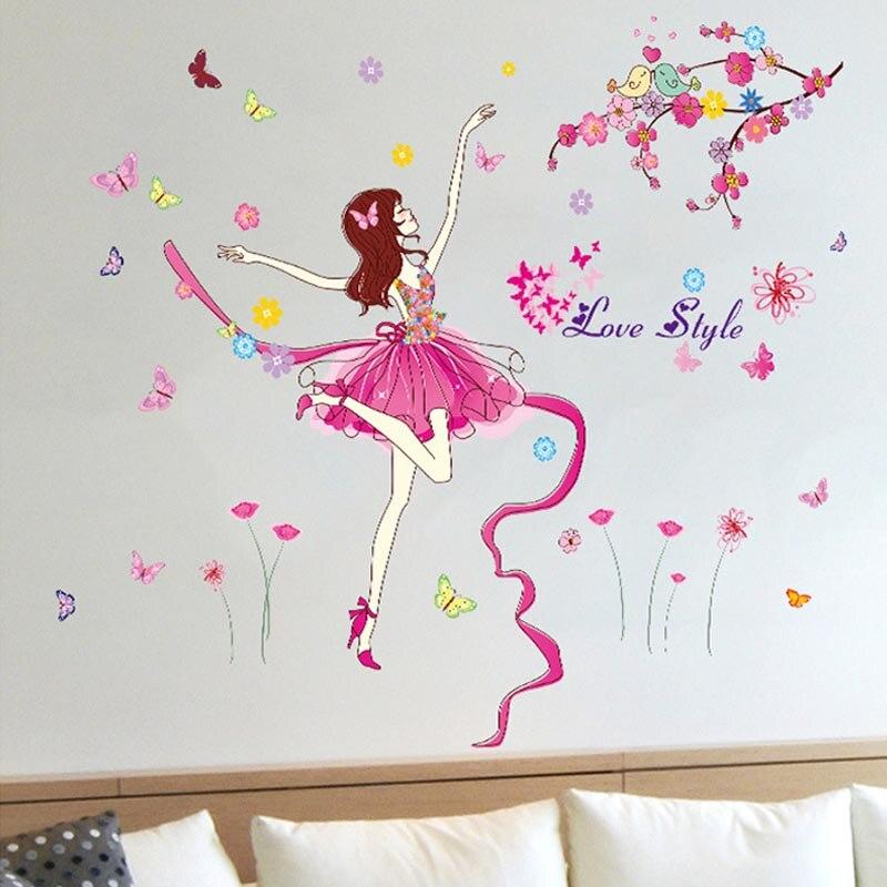 Belle Papillon faery de Ballerine Fille stickers muraux stickers pour Fille Chambre Mur Art Chambre de Bébé Salon Décoration murales