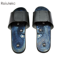 New Tens Acupuncture Therapy Electrode Massage Slippers Body Foot Relaxing Massager Machine Physiotherapy Slippers Rubber Black