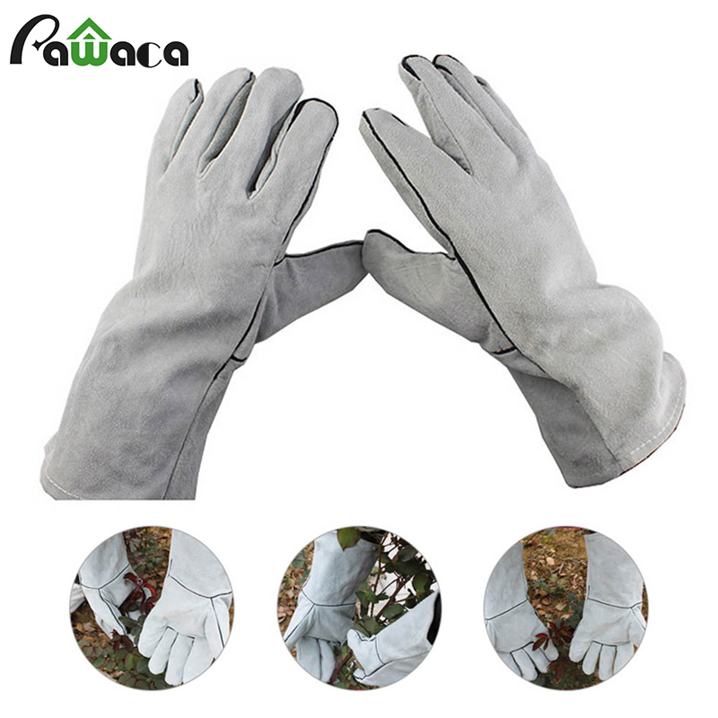 Cactus Rose Pruning Gloves Breathable Cow Leather Thorn Proof Gardening Gloves Gauntlet Sleeves for Men and Women Garden Tools|Household Gloves| |  - title=