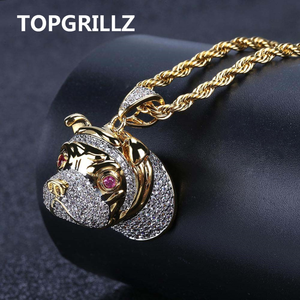 TOPGRILLZ Hip Hop Dog Head Necklace Pendant Charm For Men Women Gold Silver Color Cubic Zircon Jewelry GiftsTOPGRILLZ Hip Hop Dog Head Necklace Pendant Charm For Men Women Gold Silver Color Cubic Zircon Jewelry Gifts
