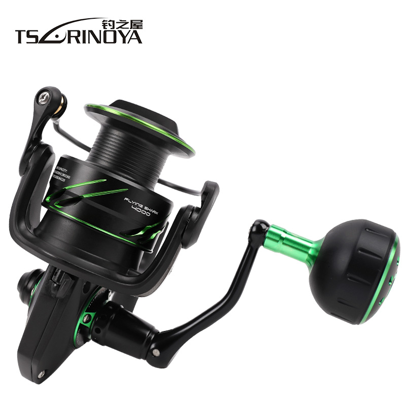 New TSURINOYA FLYING SHARK 4000/5000 Spinning Fishing Reel 12BB/6.2:1 Max Drag 12Kg Ocean Boat Lure Reels Molinete Fishing Wheel tsurinoya spinning fishing reel 9bb 5 2 1 full metal 2000 5000size ocean boat lure reels carretes pesca molinete fishing wheel