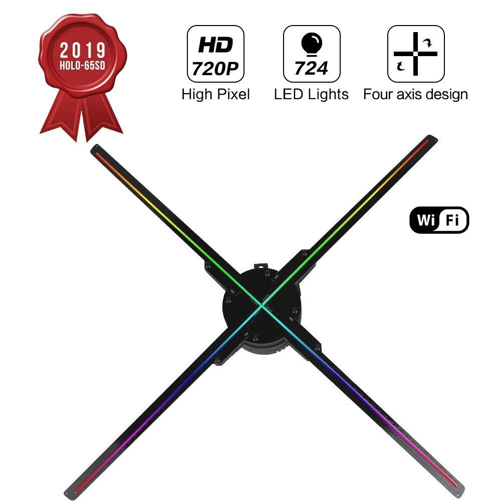 65 CM WIFI 3D holograma ventilador del proyector Z3 cuatro axila diseño proyector de vídeo pantalla LED publicidad luz holográfica, Control de aplicación