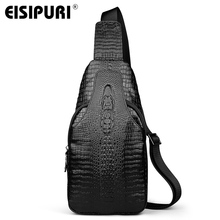 New men of high quality genuine leather shoulder bag messenger bag of the first layer leather crocodile grain head sling chest p
