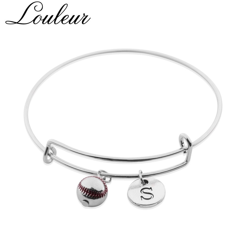 Louleur New Simple Sporty Baseball Pendant Stainless Steel Bangles Letter S Charm Bracelets Bangles for Women Adjustable in Bangles from Jewelry Accessories