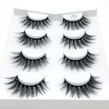 HBZGTLAD 4 pairs natural false eyelashes fake lashes long makeup 3d mink lashes eyelash extension mink eyelashes for beauty
