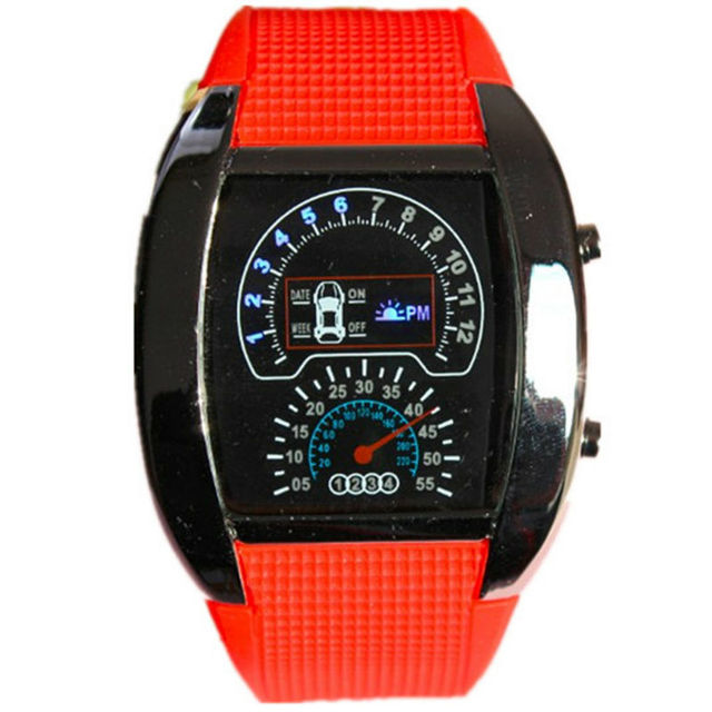 2018 new arrivals the second generation aviation design led digital clock 6 colors PU plastic army men sports aircraft watch