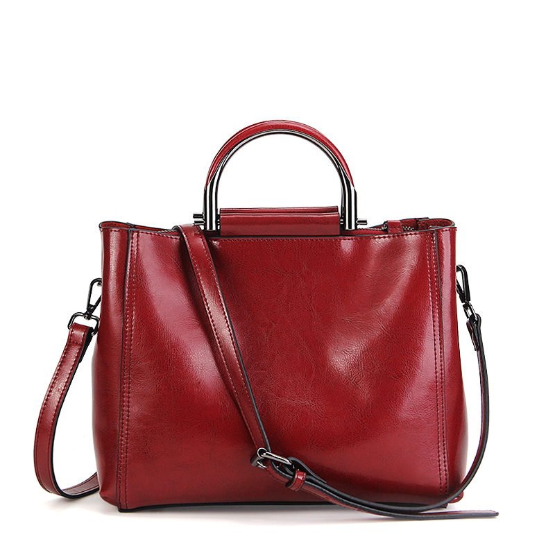 Women oil wax leather handbags luxury brand female casual tote bag genuine cowhide leather vintage ladies shoulder messenger bag new american luxury style 100% oil genuine leather women composite shoulder bag brand designer cowhide handbags tote li 1358