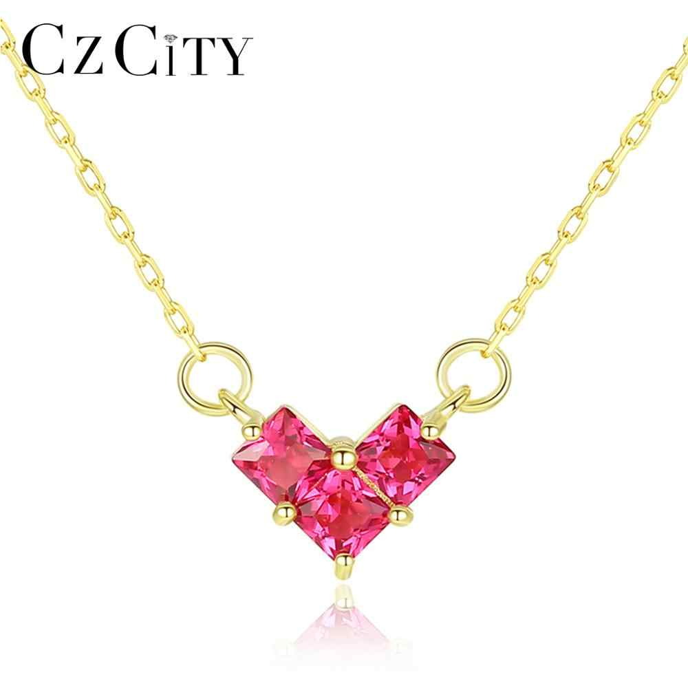 CZCITY Ruby and Emerald Heart Pendant Necklaces for Women Wedding Engagement Fine Jewelry 925 Sterling Silver Kolye Gifts SN0331