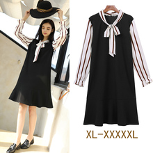 5xl plus big size women clothing 2017 spring summer stripe chiffon false two piece cute sweet party casual dress female A3611