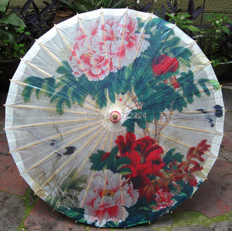 Free shipping chinese ink blooming peony painting oiled paper umbrella waterproof parasol decoration props dance gift umbrella