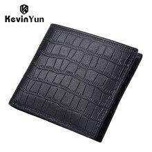 KEVIN YUN Designer Brand Men Wallets Genuine Leather Male Short Purse Card Holder