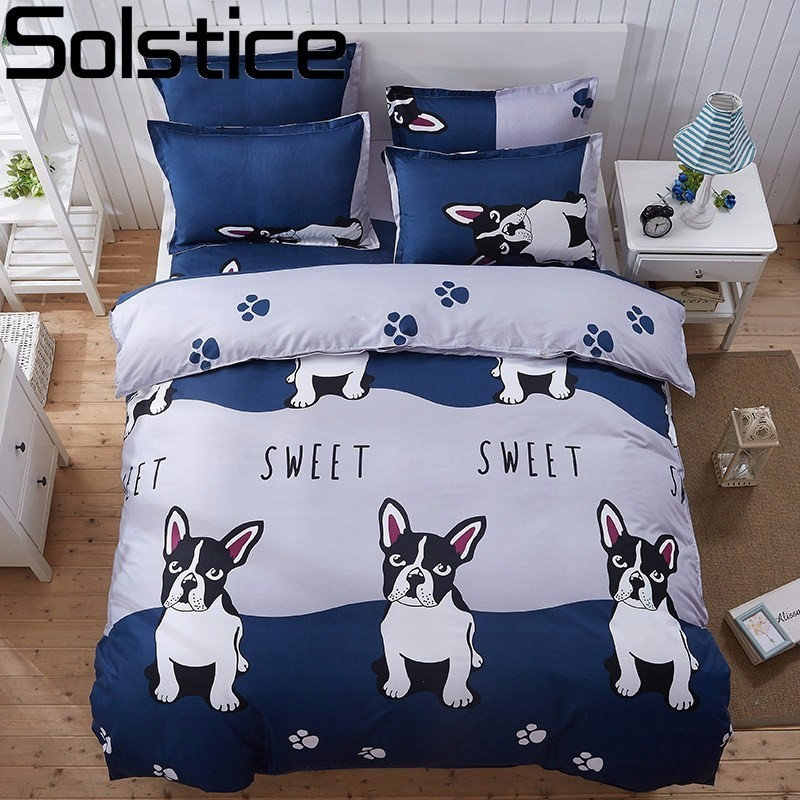 Solstice Cartoon Panda Dog Pattern Boy Girl Adult Child Bedclothes 4pcs Bedding Sets Bed Cover Bed Sheet Duvet Cover Pillowcase