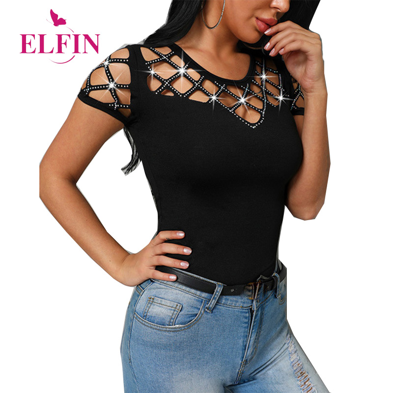 Sequined Women T-shirt Short Sleeve Hollow Out O-neck Harajuku Tee Shirt Femme Punk Summer Tshirt Tops SJ3016R