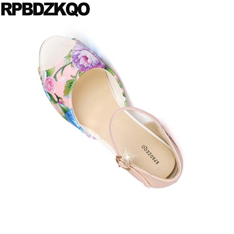 Zapatos Tacones Rosa Melocotón Peep Blanco Ronda Pulgadas Correa lc1JTK3F