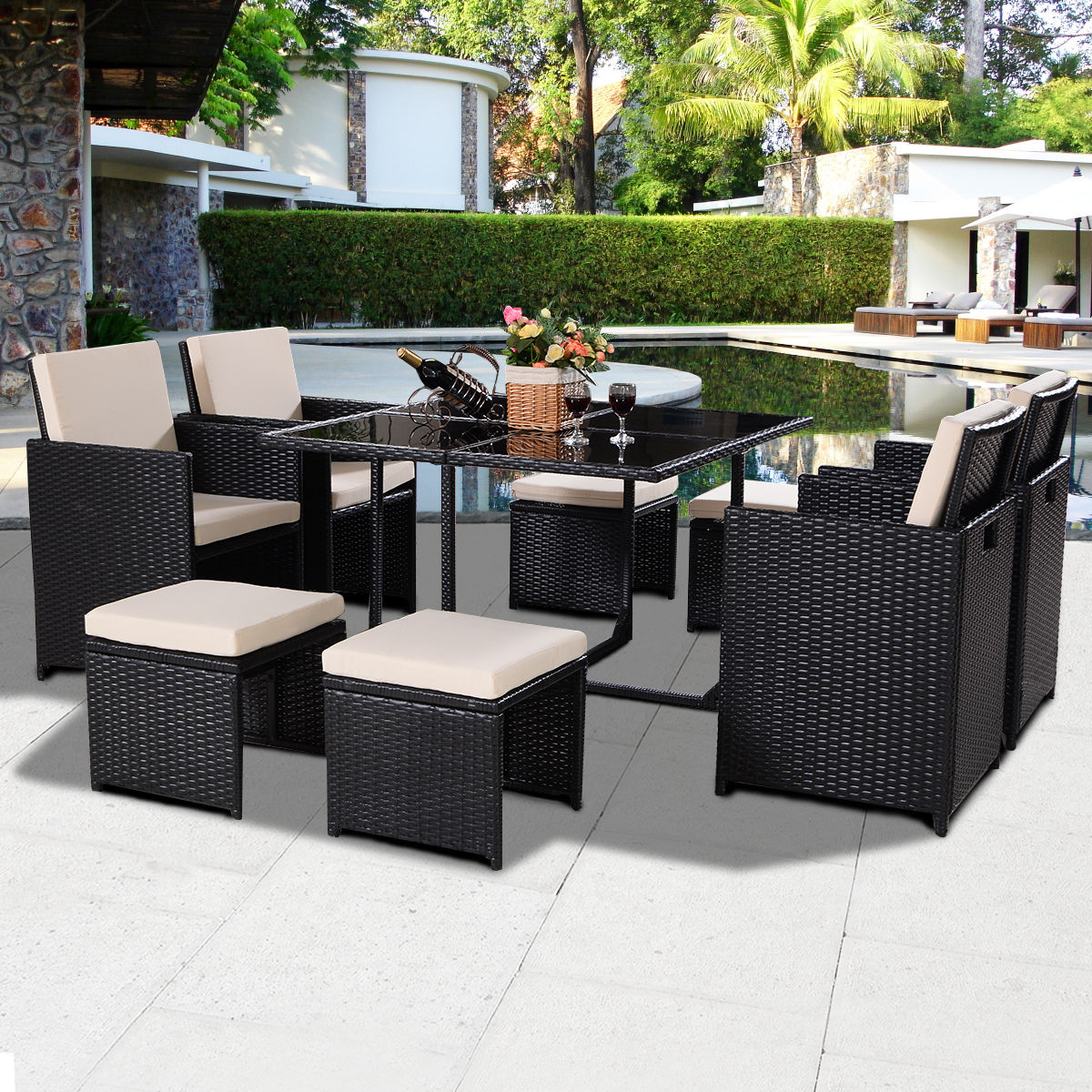 Giantex 9 pcs black patio garden rattan wicker sofa set modern outdoor furniture set cushioned with ottoman chairs hw52375