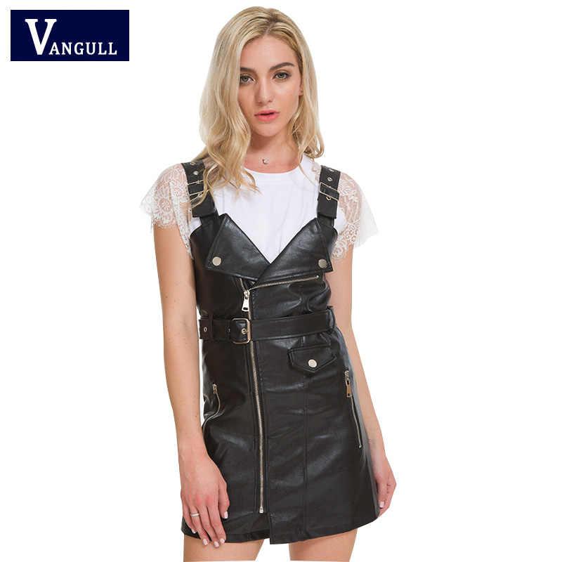 Vangull da thời trang Đầm Nữ PU Mềm Da Giả Đầm 2019 mới dây đeo Cổ Chữ V Gợi Cảm Ngắn dây Mini vestidos