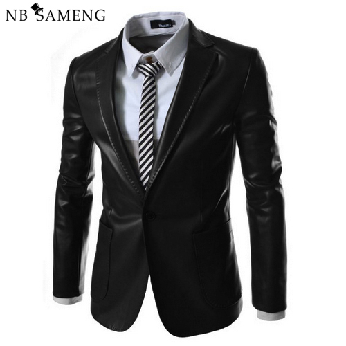 New Brand 2017 Autum Winter Men Leather Jacket Coat Formal Male Leather Blazer Suit Jacqueta De Couro Masculina LC2014017