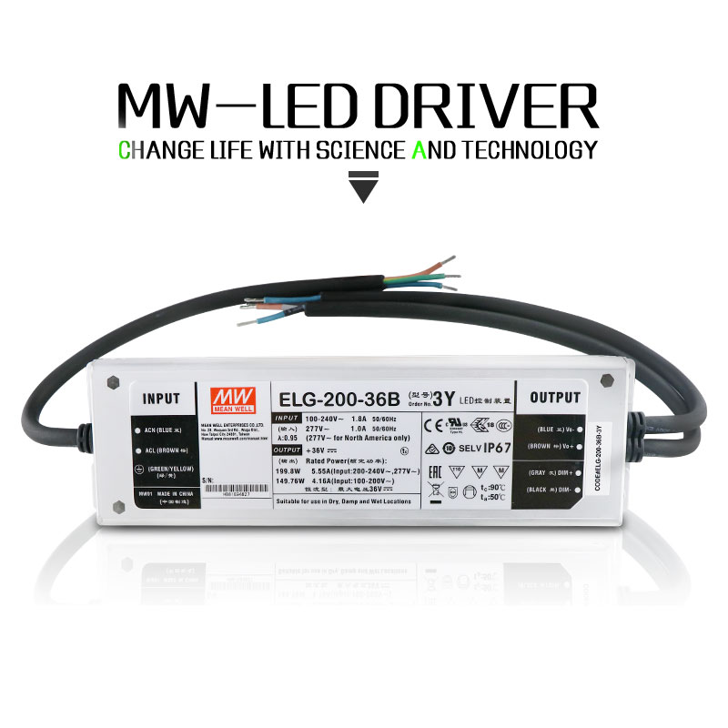 ELG-MeanWell Dimmable LED Pilote 75 W 100 W 150 W 200 W 250 W Convertir AC 85-277 V À DC 26-36 V Pour la Lumière Crue LED CREE LED ÉLÈVENT lumière