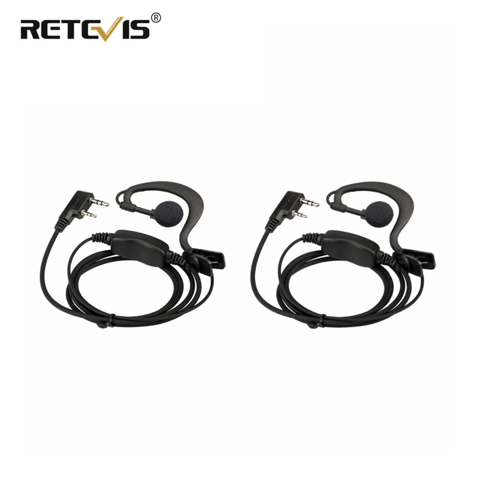 2pcs New Black Retevis RE-3120 C-type Earhook Earpiece Walkie Talkie Headset For Retevis RT21 RT24 Two Way Radio Station J9118A