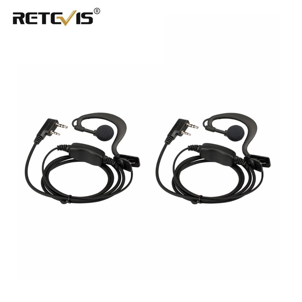 2pcs New Black Retevis RE-3120 C-type Earhook Earpiece Walkie Talkie Headset For Retevis RT21 RT24 Two Way Radio Station J9118A
