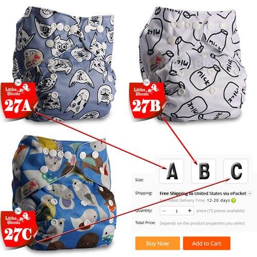 [Littles& Bloomz] Детские Моющиеся Многоразовые Тканевые карманные подгузники, выберите A1/B1/C1 из фото, только подгузники/подгузники(без вставки - Цвет: 27