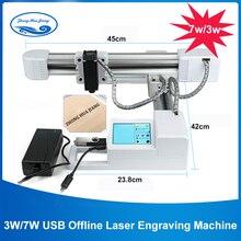 3W/7W USB Offline CNC Laser Engraver/Work Area:15.5x17.5cm/Big Power 7000mw Laser Carving Stainless Steel /DIY Logo Mark Printer