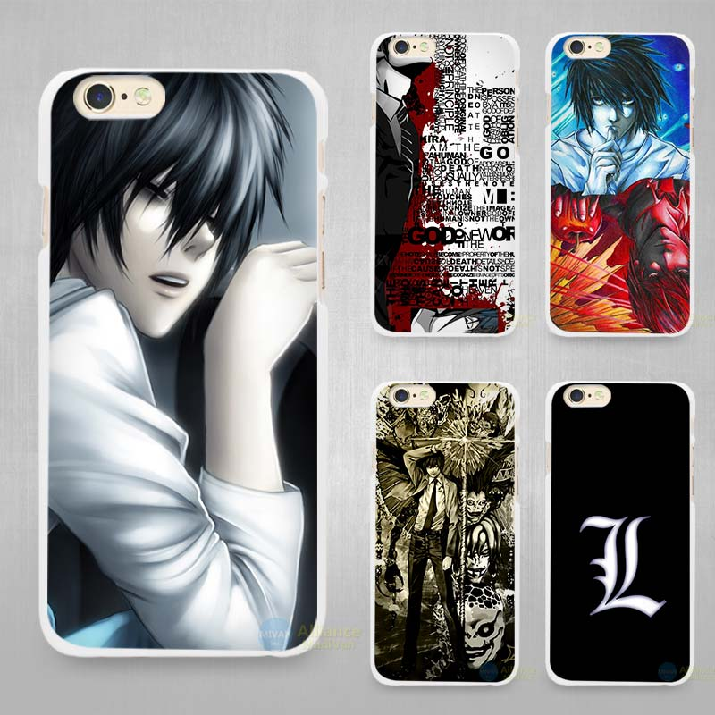low priced c02af e1185 Death Note Hard White Cell Phone Case Cover for Apple iPhone 4 4s 5 5C SE  5s 6 6s 7 8 Plus X