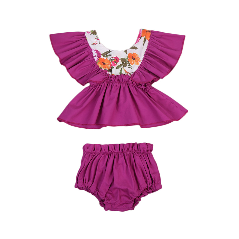 Newborn Baby Girls Clothes Ruffle Floral Tops Backless Vest Shorts Bottoms Summer Toddler Girl Clothing Outfits Sunsuit