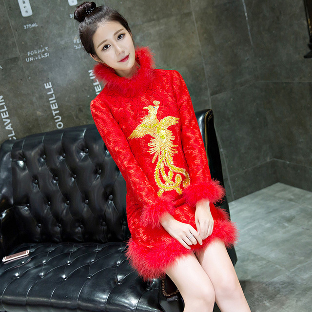 Lace qi pao dress long sleeves