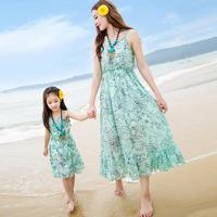 Summer Family Matching Clothes Mother And Daughter Sleeveless Beach Dress Family Look Mama And Me Dress