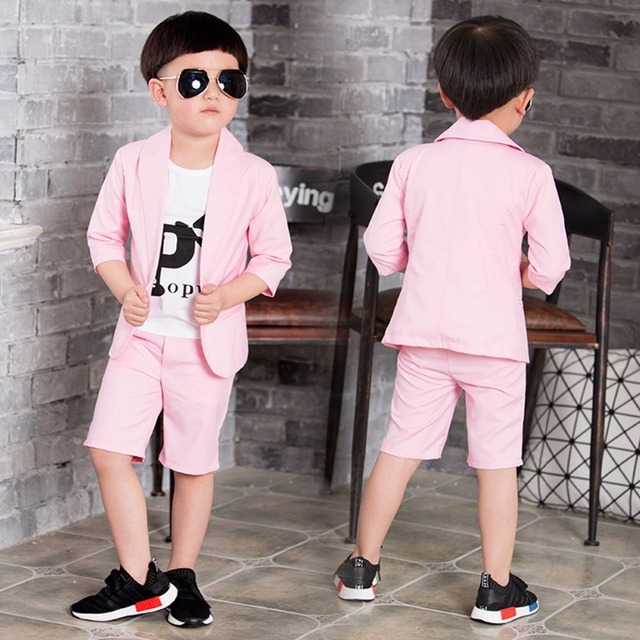 Fashion Children's Kids Boys Gentlman Handsome Baby Half Sleeved Blazer Outwear Coat+Pants 2 Pieces Clothing Sets Suits S3098