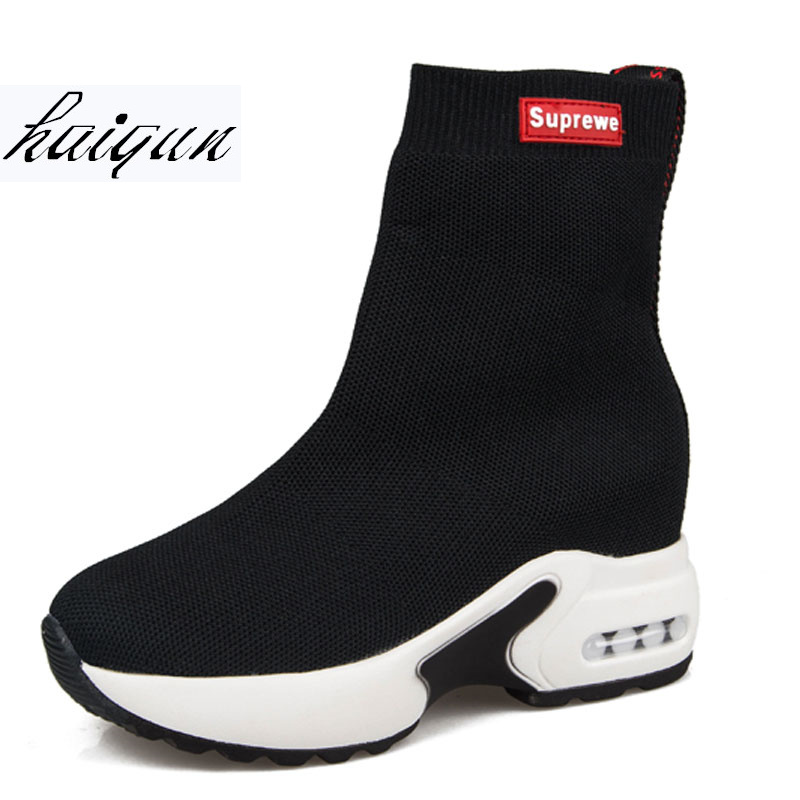 Size 35-39 Breathable Mesh Sneakers Boot Hidden Increasing Shoes Women Wedge Casual Shoes High Heels 9cm Platform Shoes
