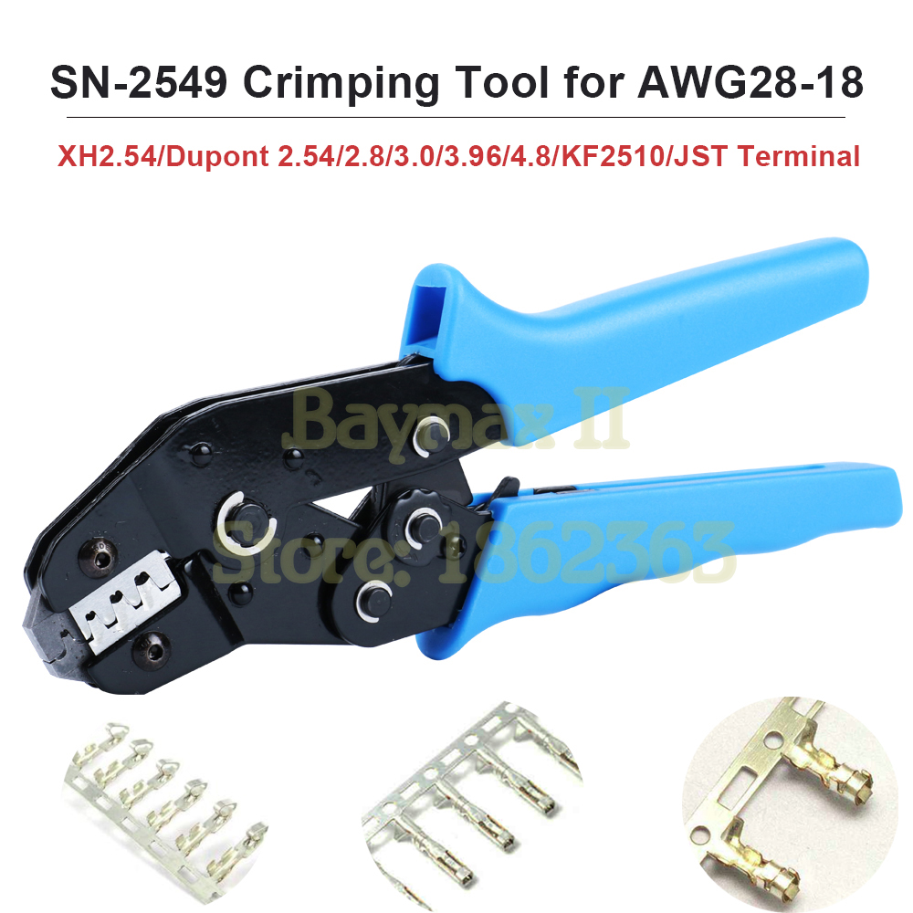 JST Terminal Crimper Plier Ratcheting Wire Connector Crimping Tool IWISS SN-2549 Crimping Tools for 0.08-1.0mm2 XH2.54 Dupont 2.54//2.8//3.0//3.96//4.8 KF2510