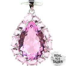 Guaranteed Real 925 Solid Sterling Silver 6.2g Elegant Pear Shape Pink Kunzite Womans Pendant 33x22mm