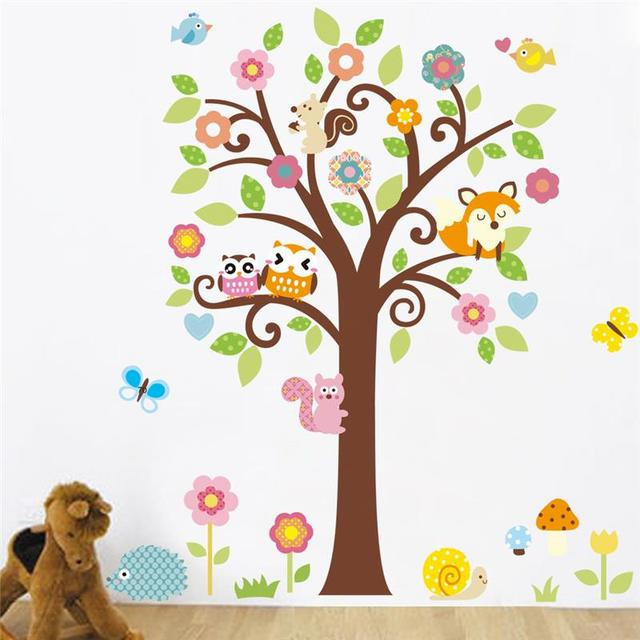 Owls Tree Wall Stickers Kids Gift Playroom Decor Nursery Cartoon Home Decals  1008. Animals Mural