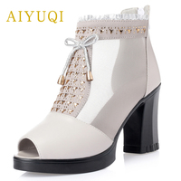 AIYUQI2019 summer new genuine leather women shoes comfortable breathable lace fish mouth mesh high heels fashion shoes female 34