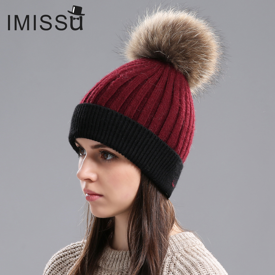 IMISSU Women's Winter Hats Knitted Real Wool Beanies Caps Raccoon Fur Pom Pom Hat Female Casual Outdoor Warm Thick Skullies