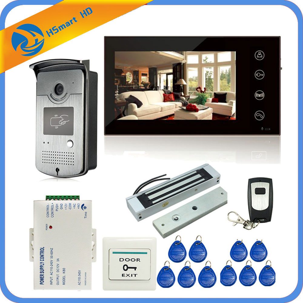 7 inch Touch Key Screen Color Video Door Phone Doorbell Intercom Electric Magnetic Lock System 700TVL RFID Access HD Camera CCTV все цены