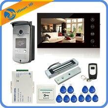 7 inch Touch Key Screen Color Video Door Phone Doorbell Intercom Electric Magnetic Lock System 700TVL RFID Access HD Camera CCTV