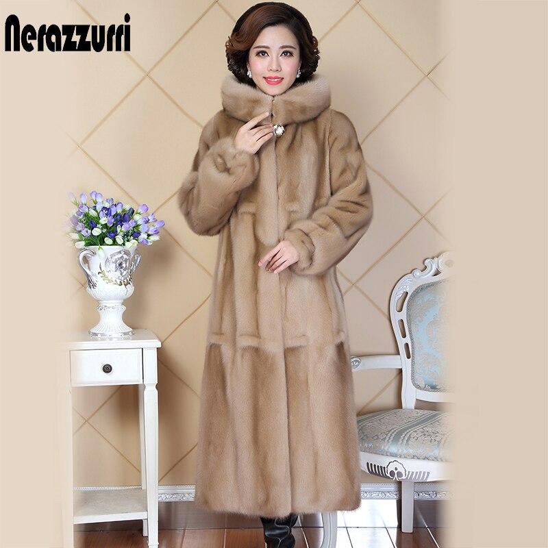 Nerazzurri haute qualité réel vison manteau de fourrure pour les femmes à manches longues chine épais chaud de luxe à capuche longue véritable naturel vison manteaux