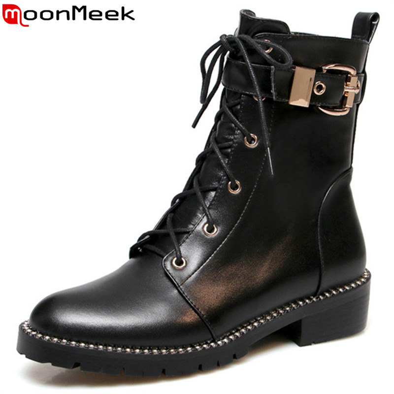 MoonMeek 2018 fashion ankle boots for women round toe zip genuine leather boots med heels shoes classic autumn winter bootsMoonMeek 2018 fashion ankle boots for women round toe zip genuine leather boots med heels shoes classic autumn winter boots